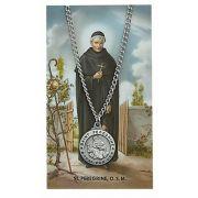 Saint Peregrine Medal, Prayer Card Set w/24 inch Chain