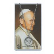 St John Paul II Medal, Prayer Card 18 inch Chain