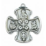 Sterling Silver 4-way Cross 24 inch Necklace & Gift Box