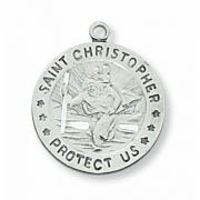 Sterling Silver Saint Christopher 18 inch Necklace Chain & Gift Box
