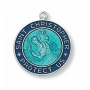 Sterling Silver Saint Christopher Blue 18 Inch Necklace Chain/Gift Box