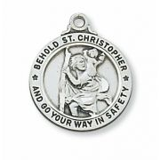 Sterling Silver Saint Christopher w/20 inch Necklace Chain & Box