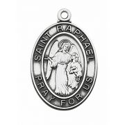 Sterling Silver Saint Raphael Medal 24 inch Necklace Chain & Gift Box