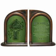 Irish Blessing /Celtic Cross w/Claddagh Ring Alabaster Bookends