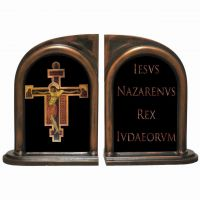 Byzantine Crucifix Alabaster Bookends
