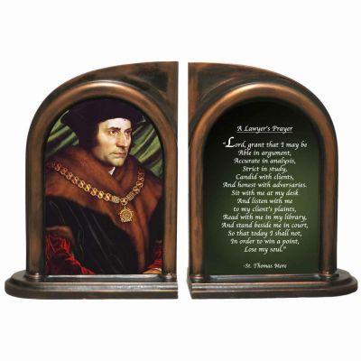 Saint Thomas More/Lawyer s Prayer Alabaster Bookends -  - BKE-425