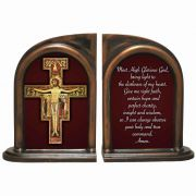 San Damiano Cross Alabaster Bookends