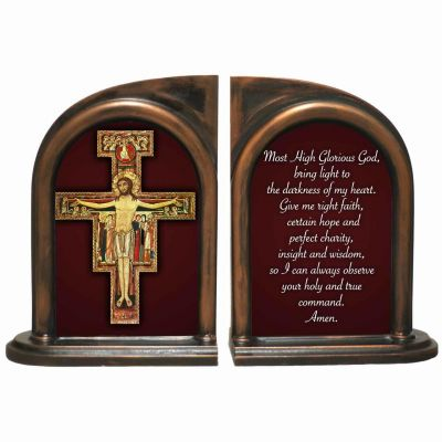 San Damiano Cross Alabaster Bookends -  - BKE-4A