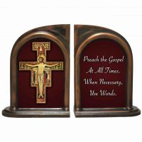 San Damiano Crucifix Quote Alabaster Bookends