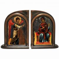 Annunciation Icon Alabaster Bookends
