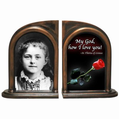 Saint Therese (Child) Alabaster Bookends -  - BKE-761