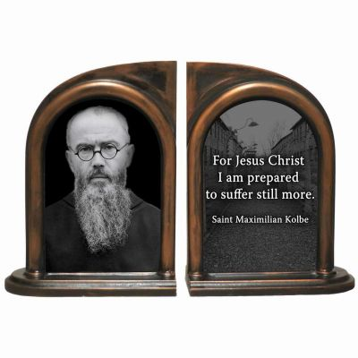 Saint Maximilian Kolbe Alabaster Bookends -  - BKE-764