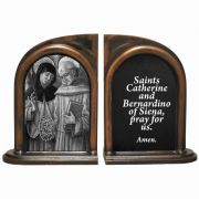 Sts. Catherine and Bernardino Alabaster Bookends