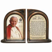 Commemorative Pope John Paul II Sainthood Quote Alabaster Bookends
