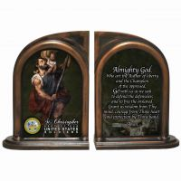 Saint Christopher US Army Alabaster Bookends