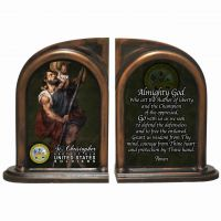 Saint Christopher US Army II Alabaster Bookends