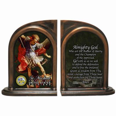 Saint Michael US Army Alabaster Bookends -  - BKE-ARM189A