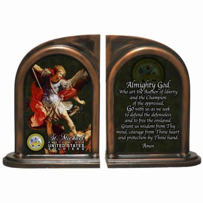 Saint Michael US Army II Alabaster Bookends -  - BKE-ARM189B