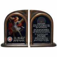 Saint Michael Marine II Alabaster Bookends