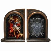 Saint Michael Police Alabaster Bookends