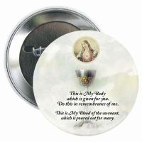 Sacred Heart and Eucharist Button (5 Pack)