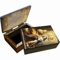 "Saint Anne Wood Keepsake Box 4x6x2"""