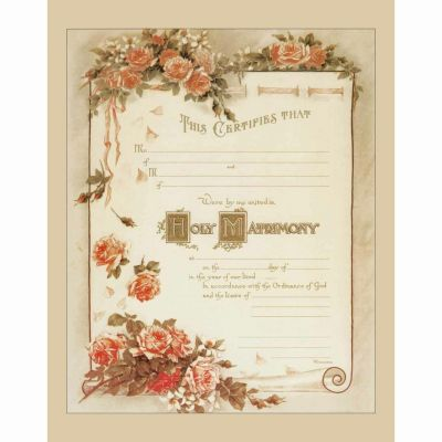 Traditional Marriage Sacrament Certificate with Roses Unframed -  - PRI-CERT-100