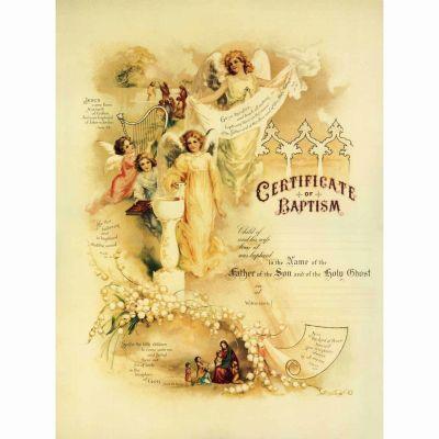 Baptism Sacrament Certificate with Angels and Christ Unframed -  - PRI-CERT-103