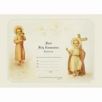 First Communion Sacrament Certificate with Christ Child Unframed