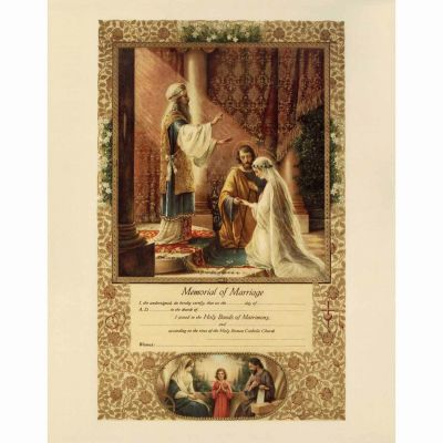 Wedding of Joseph and Mary Marriage Sacrament Certificate Unframed -  - PRI-CERT-109