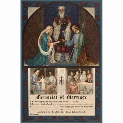 Traditional Joseph and Mary Marriage Sacrament Certificate Unframed -  - PRI-CERT-1905