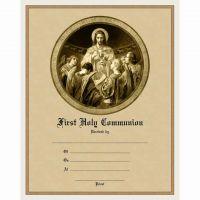 Modern First Communion Sacrament Certificate w/Bread - Angels Unframed