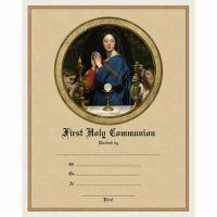 First Communion Sacrament Certificate w/Madonna of the Host Unframed