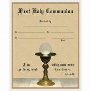 Modern First Communion Sacrament Certificate with Chalice Unframed
