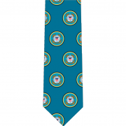 US Coast Guard Pattern Glossy Poly Satin Necktie
