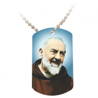 Padre Pio Dog Tag w/Beaded Metal Chain