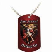 Saint Michael Defend Us Red Dog Tag