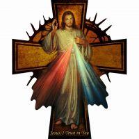Glossy Wall Wood Divine Mercy Cross