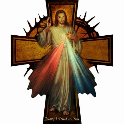 Glossy Wall Wood Divine Mercy Cross -  - WPC-X35