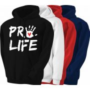 Pro-Life with Handprint White Hoodie