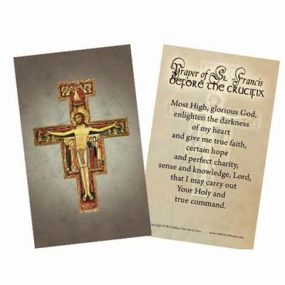 San Damiano Holy Card Scripture Verse On The Back -  - HC-4