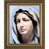 Statue of Mary Print in Gold Solid Wood Frame