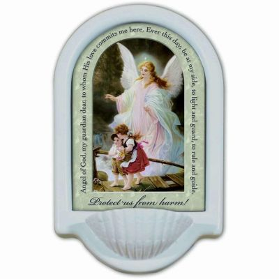 Guardian Angel Prayer Church Holy Water Bowl Font II -  - HWF-P296
