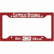 Catholic Original Red License Plate Frame