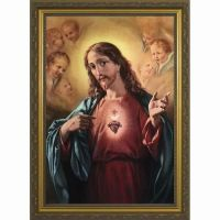 Sacred Heart of Jesus Surrounded by Angels Framed Wall Art