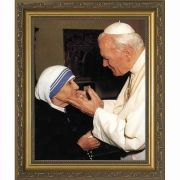 Pope John Paul II with Mother Teresa (younger) Framed Wall Art