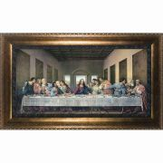 Last Supper by Da Vinci Restored Canvas - Bronze Framed Wall Art