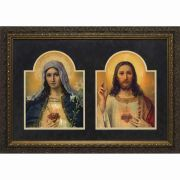 Antique Sacred & Immaculate Hearts Framed Wall Art