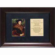 Saint Thomas More Matted with Prayer - Cherry Framed Wall Art