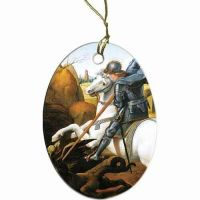 Saint George Two-Sided Porcelain Christmas Ornament